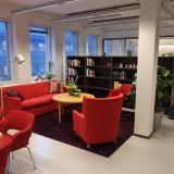 Työtilan suunnittelu: avokonttori oleskelutilat, kirjasto, työhuoneet, keittiö